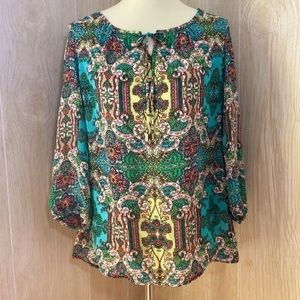 Charter Club Multicolor Paisley Peasant Blouse